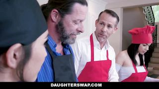 DaughterSwap - Dad and Daughters Kitchen Family Orgy - Gianna Gem - HD 720p