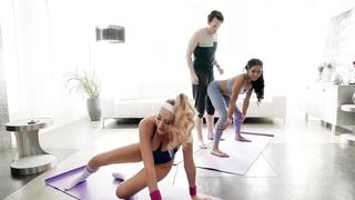 Yoga sex threesome