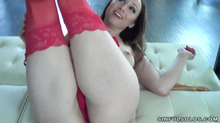 Crystal Clark red panties solo masturbation