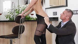 Brunette assistant giving blowjob and rimjob to her boss