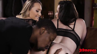 2 sexy babes share one big black cock AJ Applegate And Casey Calvert