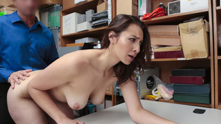 Beautiful big tit pilfer rides cock in the office