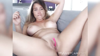 squirt show081819 - masturbation, squirting, fingering, solo, shavedpussy, baldpussy, homemade, curvy, amateur, blonde