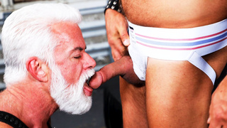 White old man fucked by muscle guy in the garage