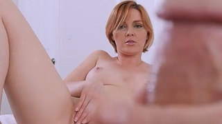 Short haired stepmom jumps on a cock