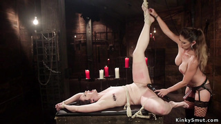 Tied up on knees slave ass whipped lezdom