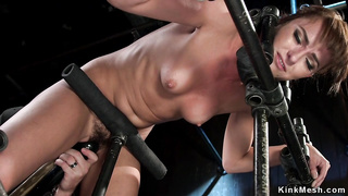 Bound slave gagged with dick on a stick