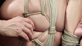 Hogtied and suspended pussy toyed