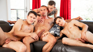 Three straight guys enjoy threesome on the sofa