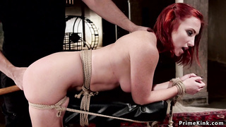 Redhead fisted and whipped in suspension