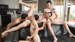 Exquisite gay twink foursome