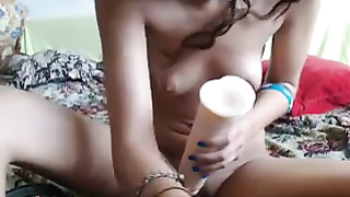horny amateur teen having fun with her dildo
