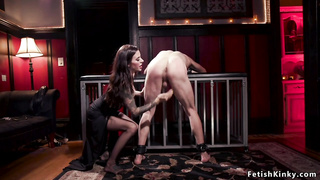 Male in chastity caned by alt mistress