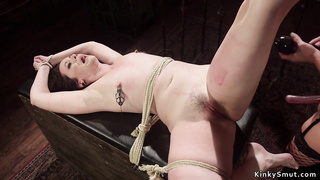 Gorgeous busty dom whips tied lesbian