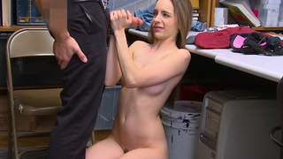 Teen shoplifter pays with a blowjob