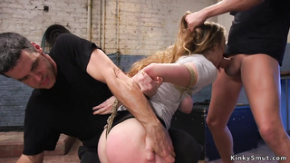 Crotch roped trainee spanked and fucked