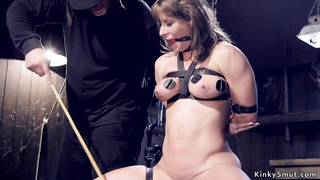 Busty Milf slave tormented with spur