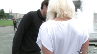Busty tied blonde fucked in public