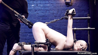 Ass hooked blonde tormented in device