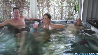 Jodi West mom risky play with son`s dick near dad with Jacuzzi