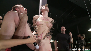 Brunette slut fucks in pool hall bondage