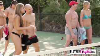 Football tennis with swingers gets hot