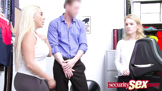Gorgeous blonde shoplifters gag deep