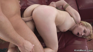 Teen in bondage gets shaved cunt fucked
