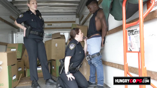 Interracial threesome with two cops