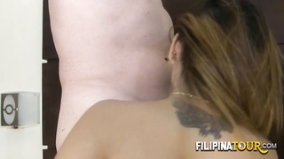 Tattooed Asian babe gets drilled