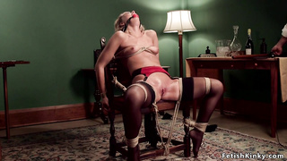 Hogtied blonde on pool table gets toyed