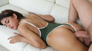 Oiled Latina drilled in swimsuit