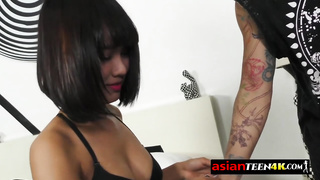 Young Asian girlfriend gets pussy filled