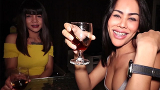 Two amazing ladyboys fuck in a threesome