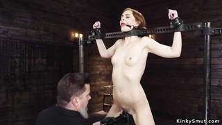 Brunette in doggy device anal toyed