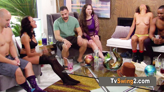 The swinger couple has a lustful moment