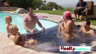 Swinger pool party with horny lesbians
