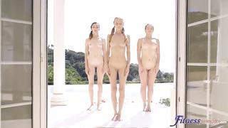 Sexy Hub Fitness Rooms - Threesome lesbian sun salutations (2019) Nancy A, Adel Morel, Kaisa Nord