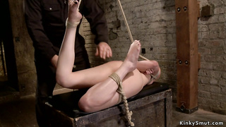 Hogtied petite brunette pussy vibrated