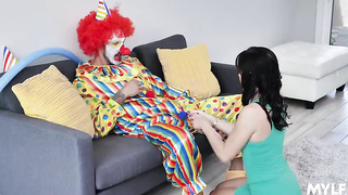 Wife chats with clown Alana Cruise