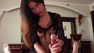 Ladyboy gave a handjob and blowjob combo