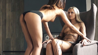 Gorgeous lesbians licking and fingering 2 video