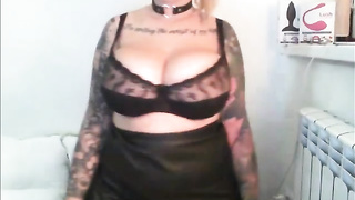 Big tits blonde with tattoos