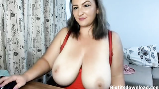 Ugly brunette with giant tits