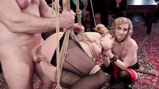 Blonde anal banged in suspension orgy