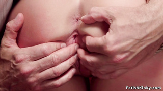 Gagged blonde squirter tormented