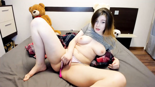 fingering show110419 - fingering, masturbation, russian, amateur, solo, brunette, panties, homemade, busty, teen