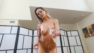 Guy massages his friends horny busty mom