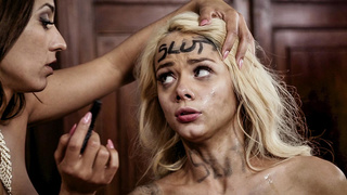 Teen Elsa Jean gets her face defaced with sperm!