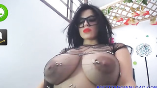 huge tits brunette with crazy looks